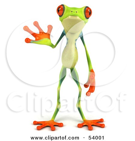 Royalty-Free (RF) Clipart Illustration of a Cute 3d Green Poison Dart Frog Facing Front And Waving by Julos