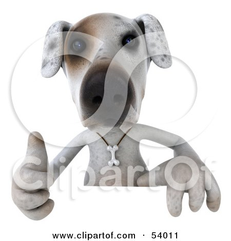 Royalty-Free (RF) Clipart Illustration of a 3d Jack Russell Terrier Pooch Character Giving The Thumbs Up And Standing Behind A Sign by Julos
