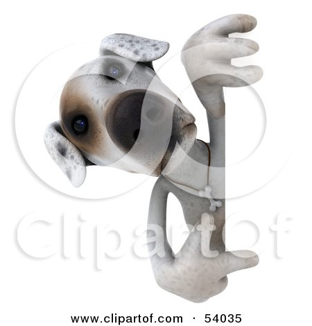Royalty-Free (RF) Clipart Illustration of a 3d Jack Russell Terrier Pooch Character Pointing And Looking Around A Sign by Julos