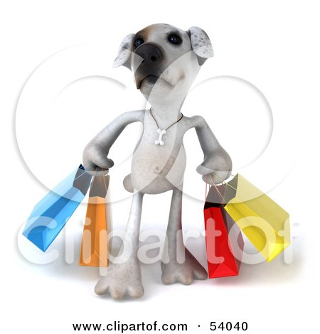 Royalty-Free (RF) Clipart Illustration of a 3d Jack Russell Terrier Pooch Character Carrying Shopping Bags - Pose 1 by Julos