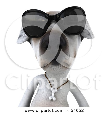 Royalty-Free (RF) Clipart Illustration of a 3d Jack Russell Terrier Pooch Character Wearing Sunglasses - Pose 1 by Julos