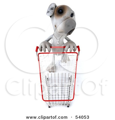 Royalty-Free (RF) Clipart Illustration of a 3d Jack Russell Terrier Pooch Character Pushing A Shopping Cart - Pose 3 by Julos