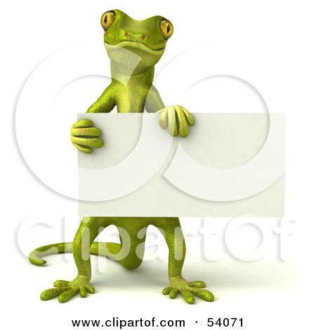 Royalty-Free (RF) Clipart Illustration of a 3d Gecko Character Holding A Blank Sign - Pose 1 by Julos