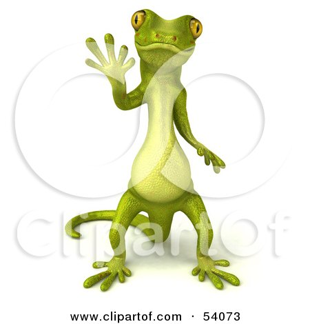 Royalty-Free (RF) Clipart Illustration of a 3d Gecko Character Standing And Waving - Version 1 by Julos