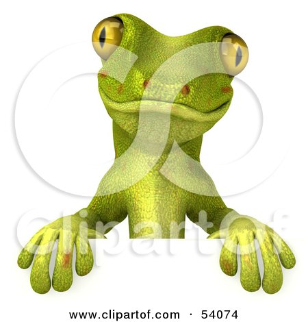 Royalty-Free (RF) Clipart Illustration of a 3d Gecko Character Standing Behind A Blank Sign - Pose 1 by Julos