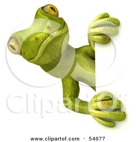 Royalty-Free (RF) Clipart Illustration of a 3d Gecko Character Looking Around A Blank Sign - Pose 1 by Julos
