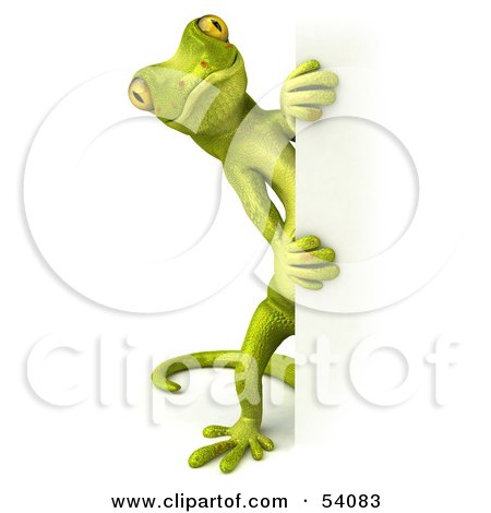 Royalty-Free (RF) Clipart Illustration of a 3d Gecko Character Looking Around A Blank Sign - Pose 2 by Julos