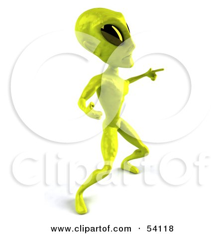 Royalty-Free (RF) Clipart Illustration of a 3d Green Alien Being Dancing - Pose 5 by Julos