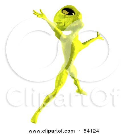 Royalty-Free (RF) Clipart Illustration of a 3d Green Alien Being Dancing - Pose 4 by Julos