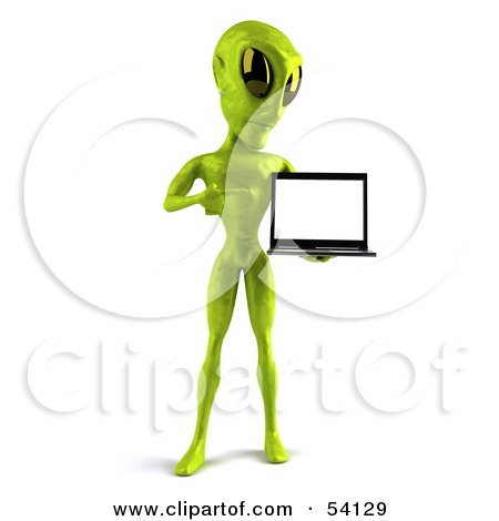 Royalty-Free (RF) Clipart Illustration of a 3d Green Alien Being Presenting A Laptop - Pose 2 by Julos