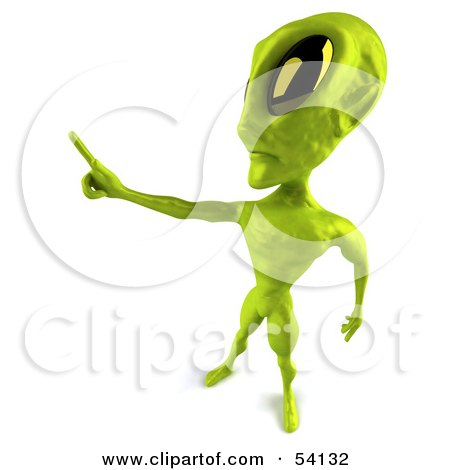 Royalty-Free (RF) Clipart Illustration of a 3d Green Alien Being Holding Out One Finger by Julos