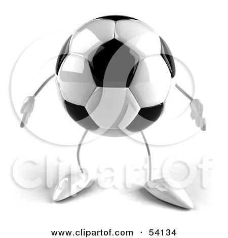 Royalty-Free (RF) Clipart Illustration of a 3d Soccer Ball With Arms And Legs, Facing Front by Julos