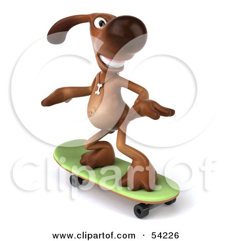 Royalty-Free (RF) Clipart Illustration of a 3d Brown Pooch Character Skateboarding - Pose 2 by Julos