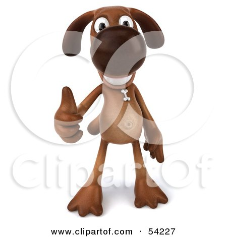 Royalty-Free (RF) Clipart Illustration of a 3d Brown Pooch Character Giving The Thumbs Up - Pose 1 by Julos