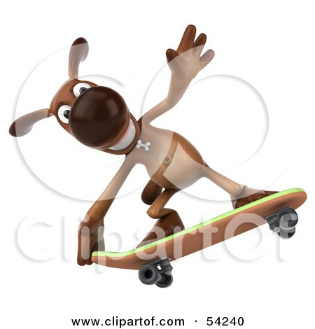 Royalty-Free (RF) Clipart Illustration of a 3d Brown Pooch Character Skateboarding - Pose 4 by Julos
