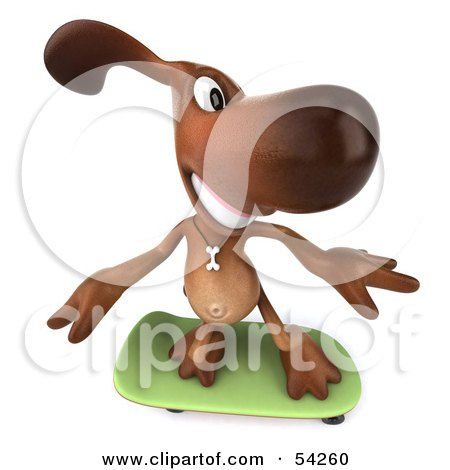Royalty-Free (RF) Clipart Illustration of a 3d Brown Pooch Character Skateboarding - Pose 3 by Julos