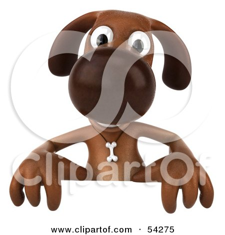 Royalty-Free (RF) Clipart Illustration of a 3d Brown Pooch Character Standing Behind A Blank Sign by Julos