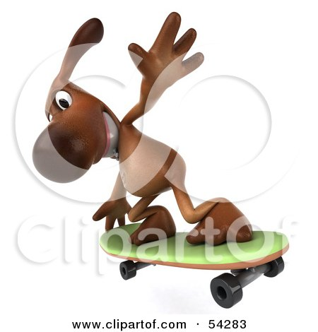 Royalty-Free (RF) Clipart Illustration of a 3d Brown Pooch Character Skateboarding - Pose 5 by Julos