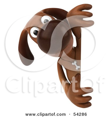 Royalty Free RF Clipart Illustration Of A 3d Brown Pooch Character Looking Around A Sign