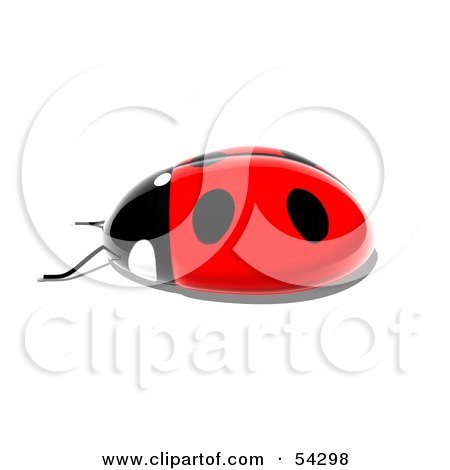 Royalty-Free (RF) Clipart Illustration of a 3d Shiny Ladybird - Pose 5 by Julos