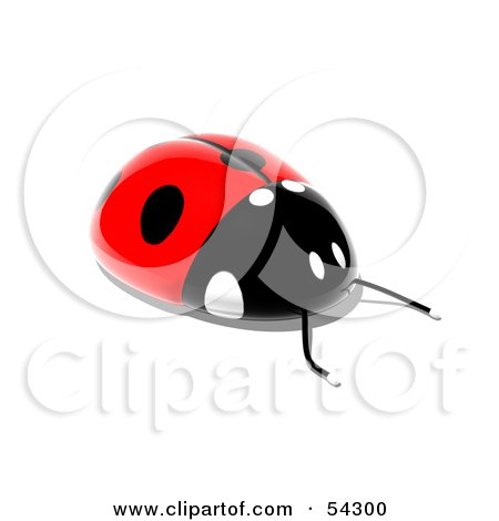 Royalty-Free (RF) Clipart Illustration of a 3d Shiny Ladybird - Pose 1 by Julos