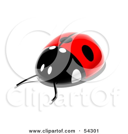 Royalty-Free (RF) Clipart Illustration of a 3d Shiny Ladybird - Pose 3 by Julos