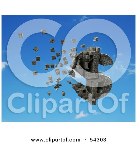 Royalty-Free (RF) Clipart Illustration of a 3d Dollar Symbol Made Of Stone Blocks, Particles Floating - Version 5 by Julos