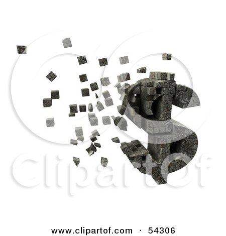 Royalty-Free (RF) Clipart Illustration of a 3d Dollar Symbol Made Of Stone Blocks, Particles Floating - Version 2 by Julos