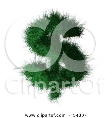 Royalty-Free (RF) Clipart Illustration of a 3d Grassy Green Dollar Symbol by Julos