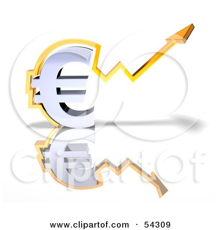 Royalty-Free (RF) Clipart Illustration of a 3d Chrome Euro Symbol With An Arrow Forming Around It - Version 3 by Julos