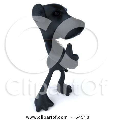 Royalty-Free (RF) Clipart Illustration of a 3d Black Lab Pooch Character Giving The Thumbs Up - Pose 2 by Julos