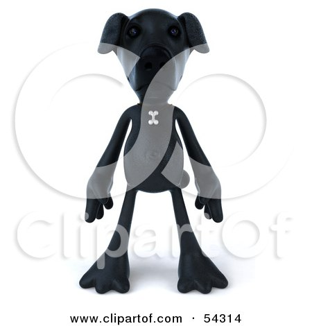 Royalty-Free (RF) Clipart Illustration of a 3d Black Lab Pooch Character Standing And Facing Front by Julos