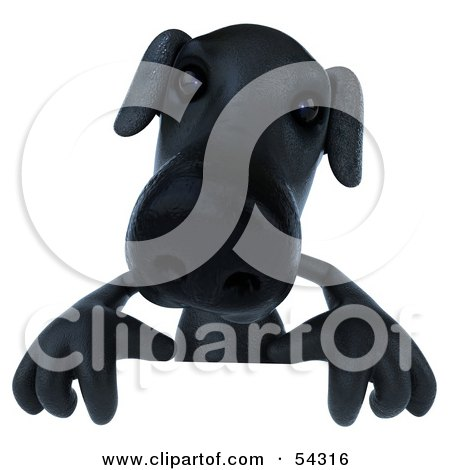 Royalty-Free (RF) Clipart Illustration of a 3d Black Lab Pooch Character Standing Behind A Blank Sign by Julos