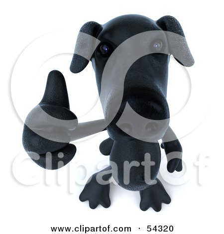 Royalty-Free (RF) Clipart Illustration of a 3d Black Lab Pooch Character Giving The Thumbs Up - Pose 3 by Julos