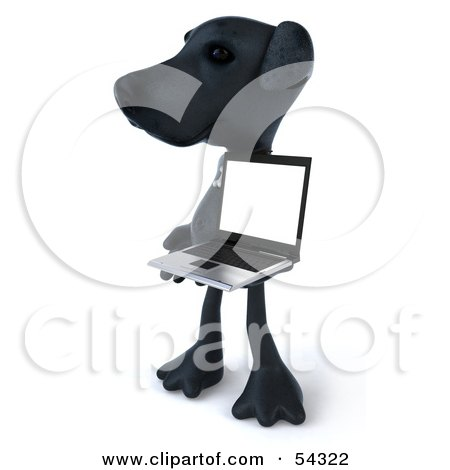 Royalty-Free (RF) Clipart Illustration of a 3d Black Lab Pooch Character With A Laptop - Version 5 by Julos