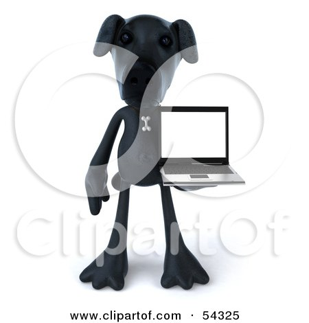 Royalty-Free (RF) Clipart Illustration of a 3d Black Lab Pooch Character With A Laptop - Version 3 by Julos