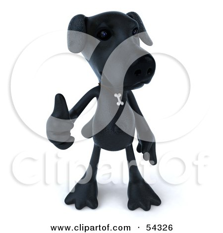 Royalty-Free (RF) Clipart Illustration of a 3d Black Lab Pooch Character Giving The Thumbs Up - Pose 1 by Julos