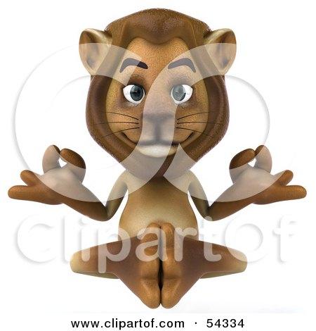 3d Lion Character Meditating - Pose 1 Posters, Art Prints
