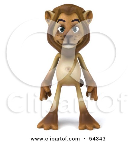 Royalty-Free (RF) Clipart Illustration of a 3d Lion Character Standing And Facing Front by Julos