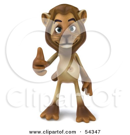Royalty-Free (RF) Clipart Illustration of a 3d Lion Character Giving The Thumbs Up - Pose 1 by Julos