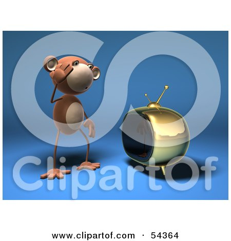 3d Monkey Character Watching Tv - Version 1 Posters, Art Prints