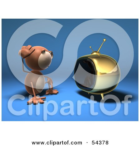 3d Monkey Character Watching Tv - Version 3 Posters, Art Prints