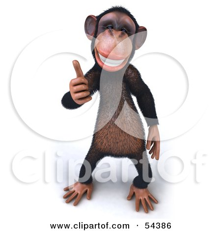 Royalty-Free (RF) Clipart Illustration of a 3d Chimp ...