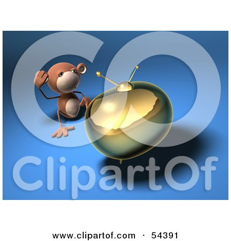 3d Monkey Character Watching Tv - Version 5 Posters, Art Prints