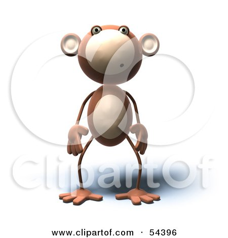 3d Monkey Character With A Confused Expression - Version 2 Posters, Art Prints