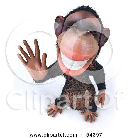 3d Chimp Character Waving - Pose 3 Posters, Art Prints