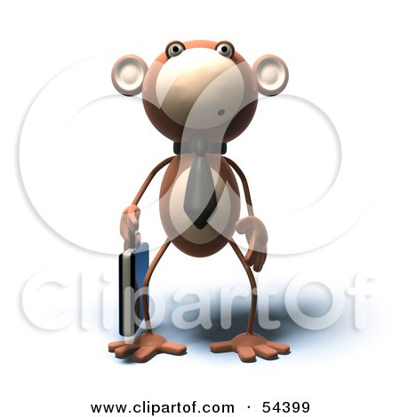 3d Monkey Character Businessman Carrying A Briefcase - Version 2 Posters, Art Prints