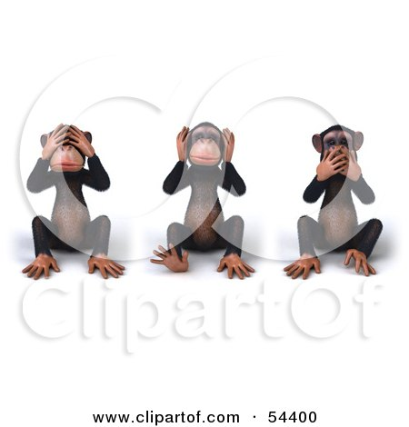 Royalty-Free (RF) Clipart Illustration of 3d Chimp Characters Covering Their Eyes, Ears And Mouths by Julos