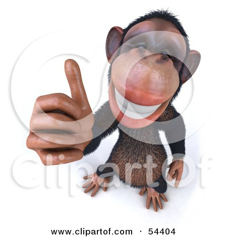 3d Chimp Character Giving The Thumbs Up - Pose 1 Posters, Art Prints