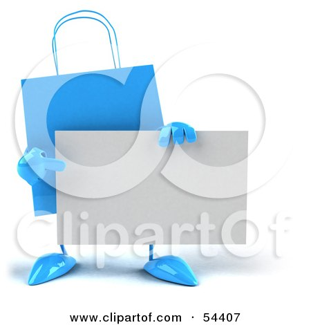 Royalty-Free (RF) Clipart Illustration of a 3d Blue Shopping Bag Holding And Pointing To A Blank Business Card by Julos